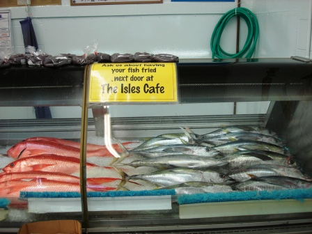 Suisan Fish market with fresh catch in Hilo,HI