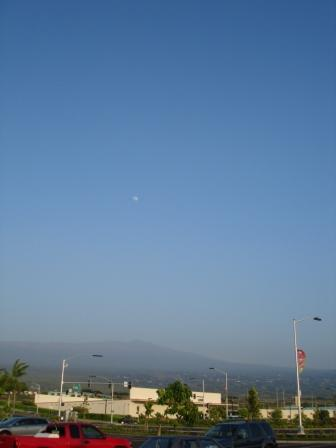 Moon over vog in Kona