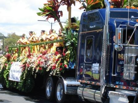 Merrie Monarch Parade Hula float Hilo 2008