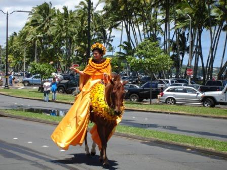 Merrie Monarch Parade decorated island queen Hilo 2008