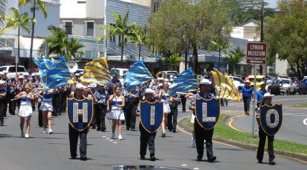Hilo High School Band in Merrie Monarch parade 2008
