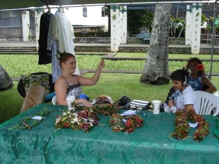 Lei making in Hilo